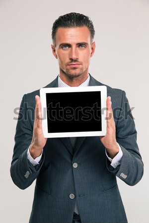 Stockfoto: Knap · zakenman · tonen · scherm · portret