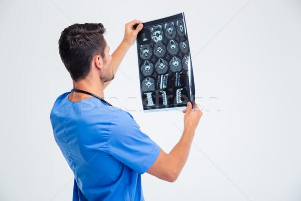 Сток-фото: вид · сзади · портрет · мужской · доктор · глядя · Xray · фотография