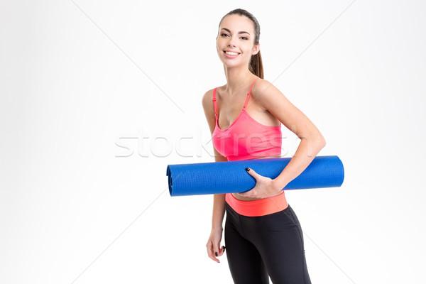 çekici genç yoga mat Stok fotoğraf © deandrobot