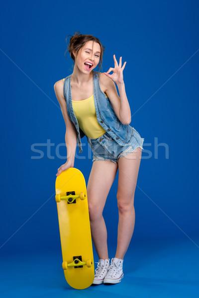 довольно Постоянный скейтборде портрет Сток-фото © deandrobot