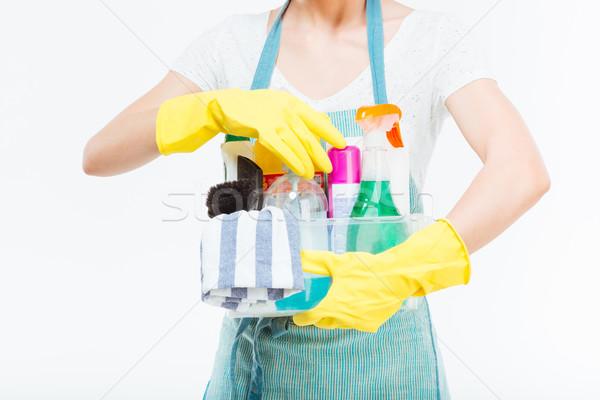 Jonge huisvrouw Blauw keuken schort Stockfoto © deandrobot