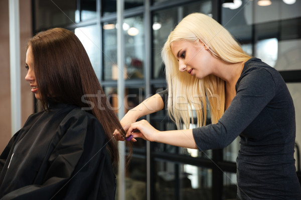 Young nice woman hairdresser makes hairstyle for a girl Stock photo © deandrobot