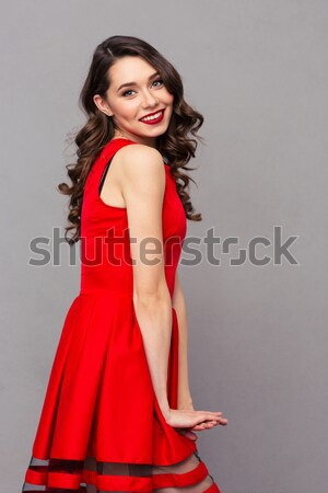 Afro amerykański kobieta moda sukienka patrząc Zdjęcia stock © deandrobot