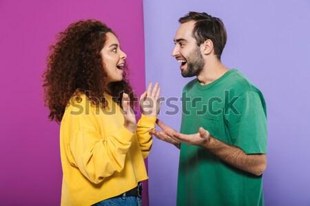 Mutlu genç kadın kapalı gözler erkek arkadaş el Stok fotoğraf © deandrobot