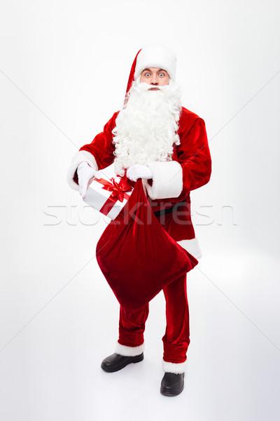человека Дед Мороз настоящее окна подарок мешок Сток-фото © deandrobot
