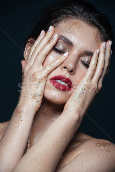 красоту портрет женщину блеск макияж прикасаться Сток-фото © deandrobot