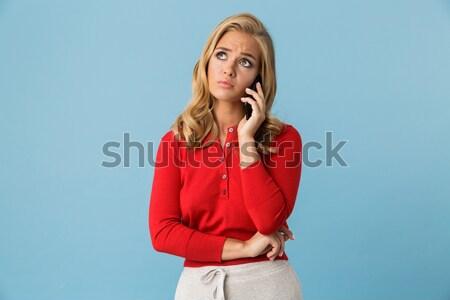 Mutlu gülümseyen kadın kırmızı elbise güçlü saç Stok fotoğraf © deandrobot