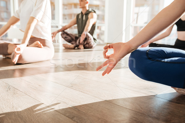 Group of people sitting and meditating in yoga studio Stock photo © deandrobot