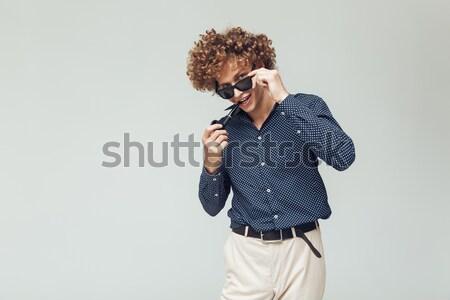 Guapo retro hombre camisa Foto jóvenes Foto stock © deandrobot