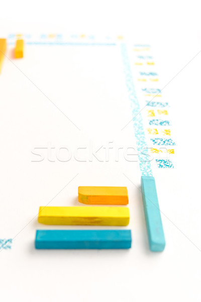 Cropped photo of color chalk drawing as striped line Stock photo © deandrobot