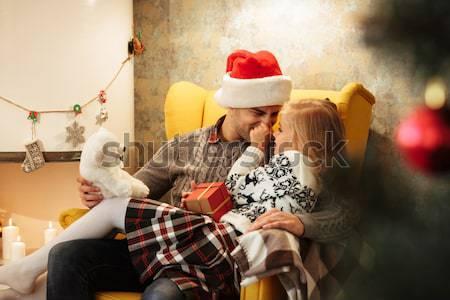 Cute ребенка прикасаться отец носа сидят Сток-фото © deandrobot