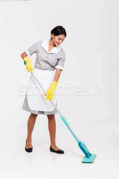 Retrato jóvenes mujer atractiva uniforme limpieza Foto stock © deandrobot