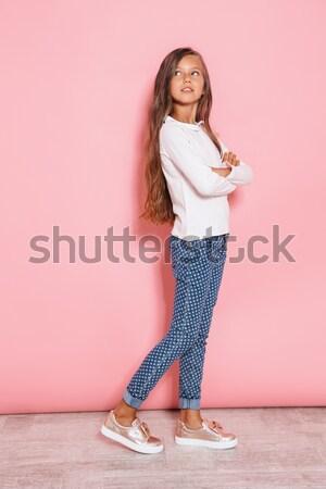 肖像 沈痛 かなり 少女 立って ストックフォト © deandrobot