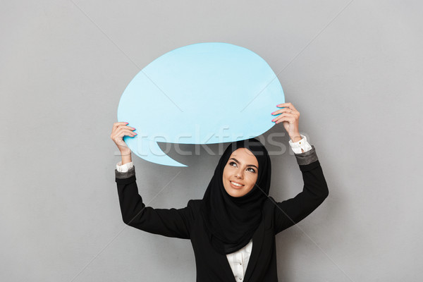 Portrait of muslim young woman 20s in black traditional clothing Stock photo © deandrobot