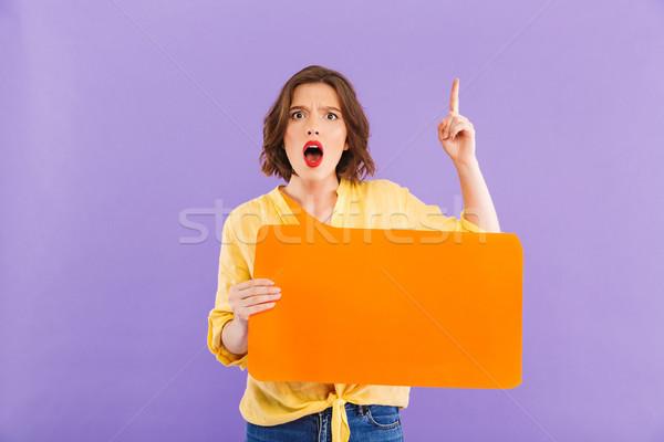 Mujer bocadillo idea imagen Foto stock © deandrobot