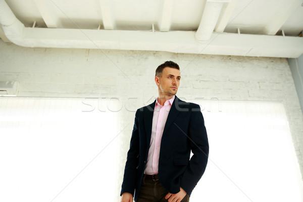 Portre dalgın moda adam iş ofis Stok fotoğraf © deandrobot