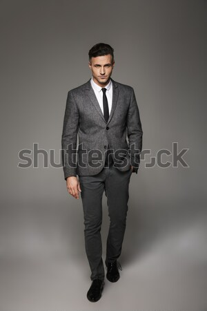 Stockfoto: Portret · mode · mannelijk · model · grijs · naar