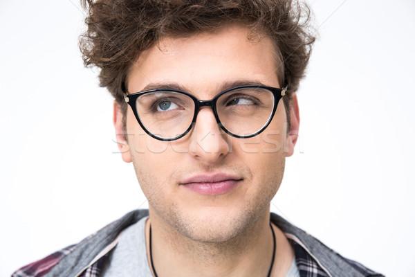 Portre komik adam kıvırcık saçlı gri Stok fotoğraf © deandrobot