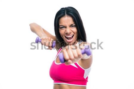 フィットネス女性 トレーニング ダンベル 怒っ 孤立した 白 ストックフォト © deandrobot