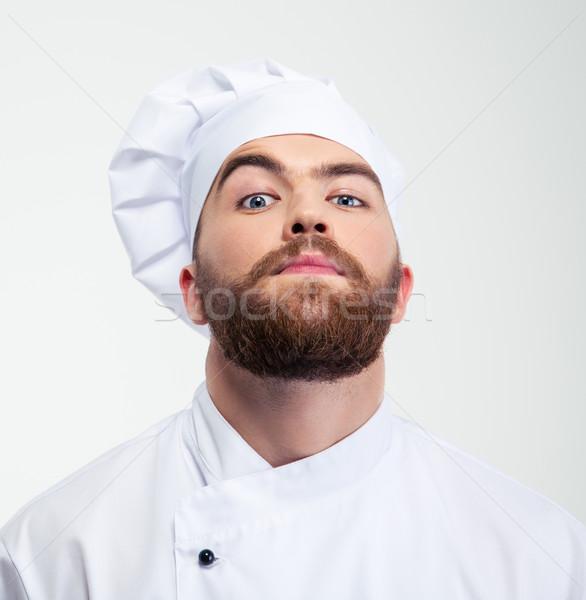 Ernstig mannelijke chef kok naar camera Stockfoto © deandrobot