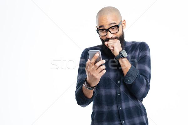 Alegre africano americano careca homem risonho Foto stock © deandrobot