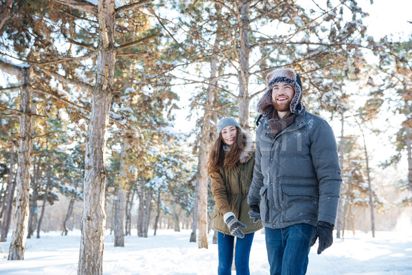 Beautiful happy couple in winter clothes walking outdoors Stock photo © deandrobot