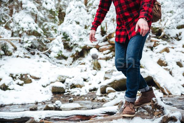 Male hiker walking on mountain river Stock photo © deandrobot