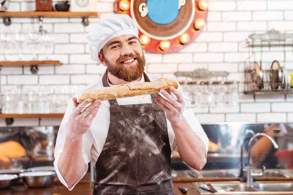 Alegre padeiro pão pão cozinha Foto stock © deandrobot