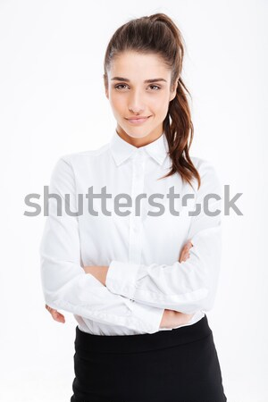 Portré mosolyog csinos fiatal üzletasszony áll Stock fotó © deandrobot