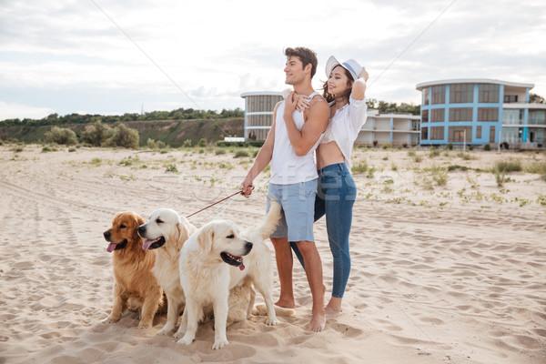 красивой пару Постоянный морем берега собака Сток-фото © deandrobot