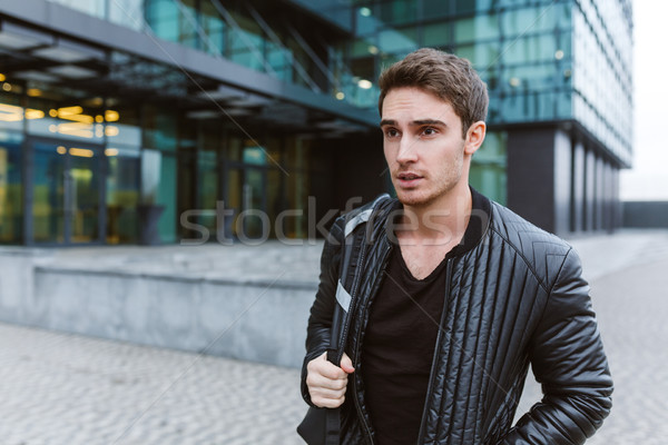 Stock photo: Serious Business man near the office