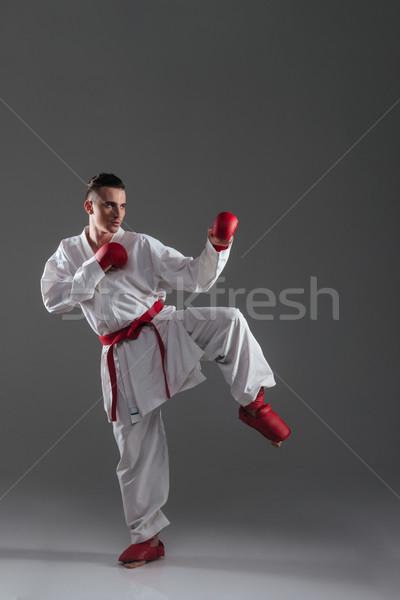 Sportsman practice in karate isolated over grey background Stock photo © deandrobot