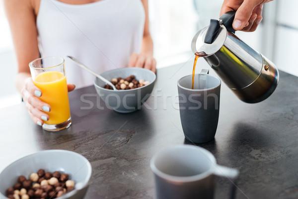 человека завтрак подруга кухне Сток-фото © deandrobot