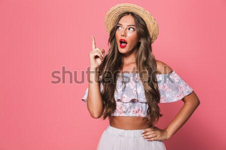 Jonge sexy girl ondergoed vingers tong geïsoleerd Stockfoto © deandrobot