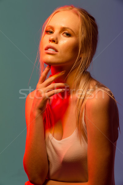 Close up Unusual portrait of beauty woman Stock photo © deandrobot