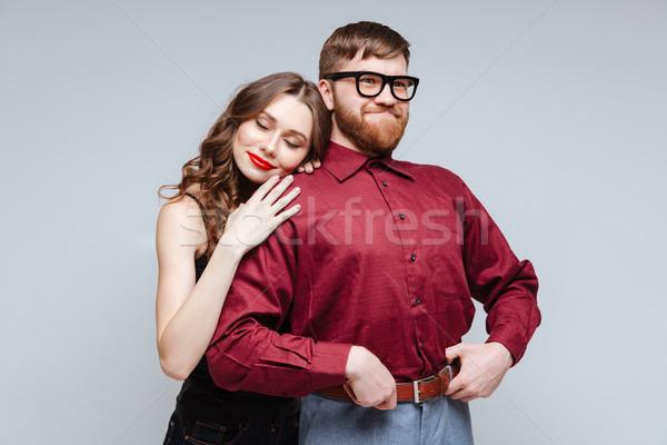 Mulher ombro masculino nerd mulher bonita sorridente Foto stock © deandrobot