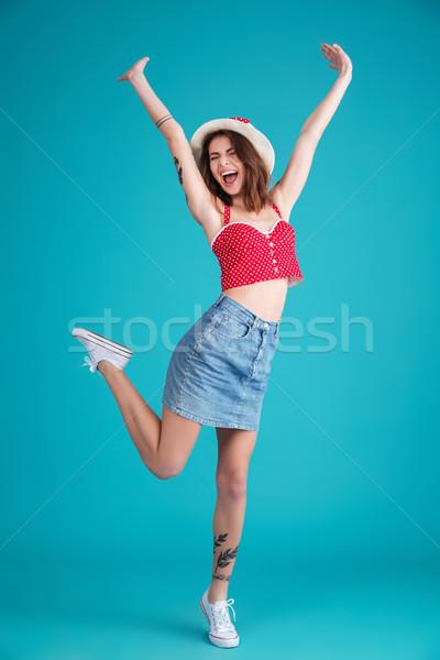 Feliz alegre mulher chapéu de palha Foto stock © deandrobot