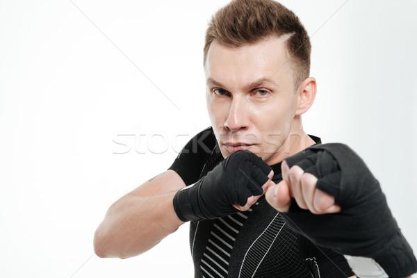 портрет здорового соответствовать спортсмен бокса Сток-фото © deandrobot