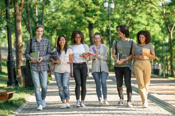 Young happy students walking while talking. Looking aside. Stock photo © deandrobot