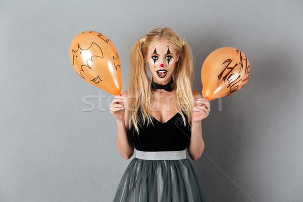 Excité fou femme blonde clown maquillage Photo stock © deandrobot