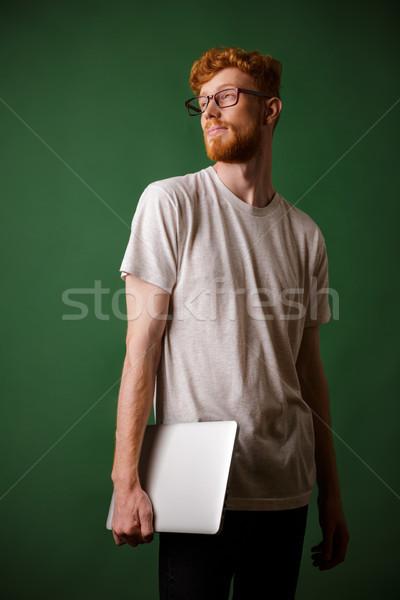 Сток-фото: выстрел · молодые · бородатый · ноутбука
