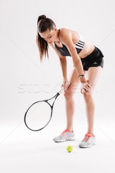 Teljes alakos portré fáradt fiatal női teniszező Stock fotó © deandrobot
