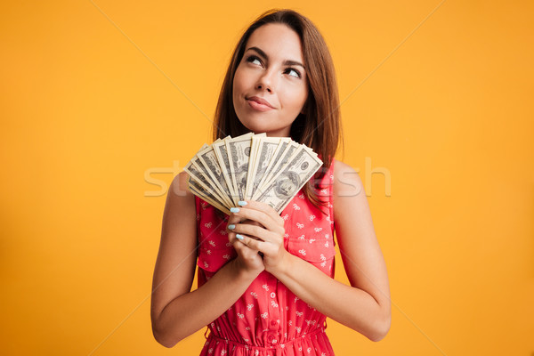 Young attractive smiling woman thinking how to spend her bunch o Stock photo © deandrobot