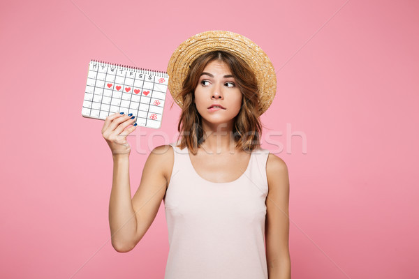 Portrait of a puzzled doubtful girl in summer hat Stock photo © deandrobot