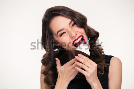 Close up portrait of a seductive brown haired woman Stock photo © deandrobot