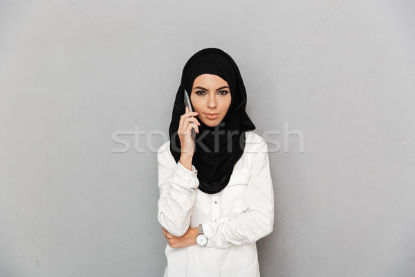 портрет радостный арабский женщину религиозных головной платок Сток-фото © deandrobot
