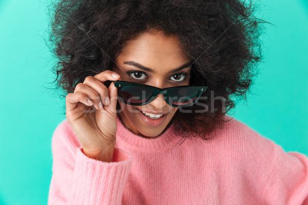 Divat portré fiatal nő 20-as évek kócos haj Stock fotó © deandrobot