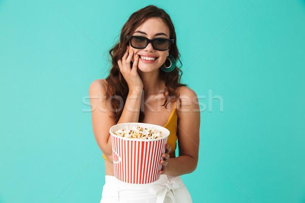 Foto positief cute vrouw 20s Stockfoto © deandrobot