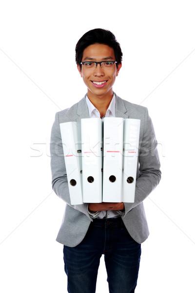 Ritratto felice asian uomo cartelle bianco Foto d'archivio © deandrobot
