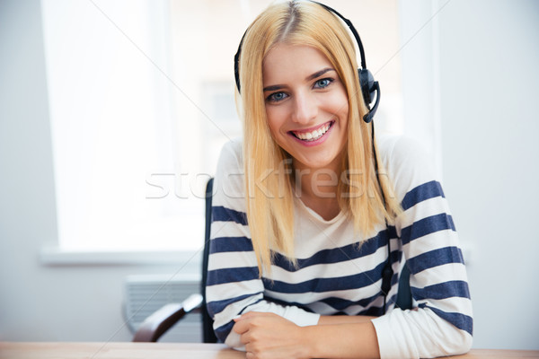 Smiling female operator with headset Stock photo © deandrobot